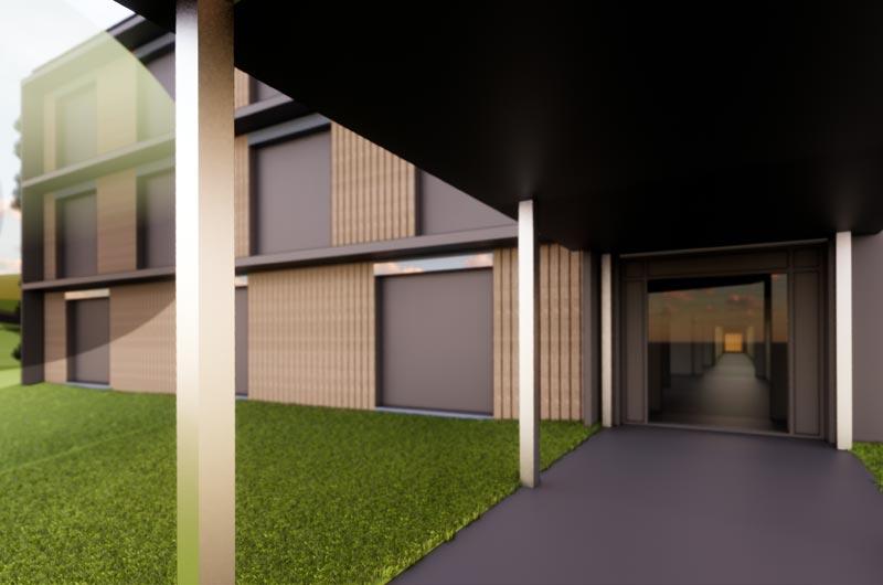 Neubau CS Kalksburg Mackgasse - Rendering Entwurfsplaung Eingangsbereich