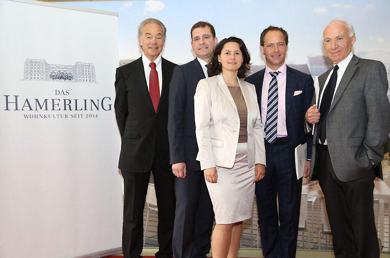 Das Hamerling - Erstpräsentation 2012: Bruno Marazzi (MHH), Hans-Peter Weiss (BIG), Veronika Mickel (Bez.Vst.), Erwin Soravia (Soravia Group), Richard Schubiger (Tertianum)