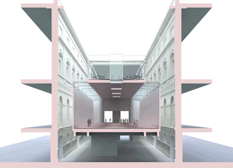 Erweiterung KHM Wien mit ÖTM und MVK - Visualisierung © Beyer