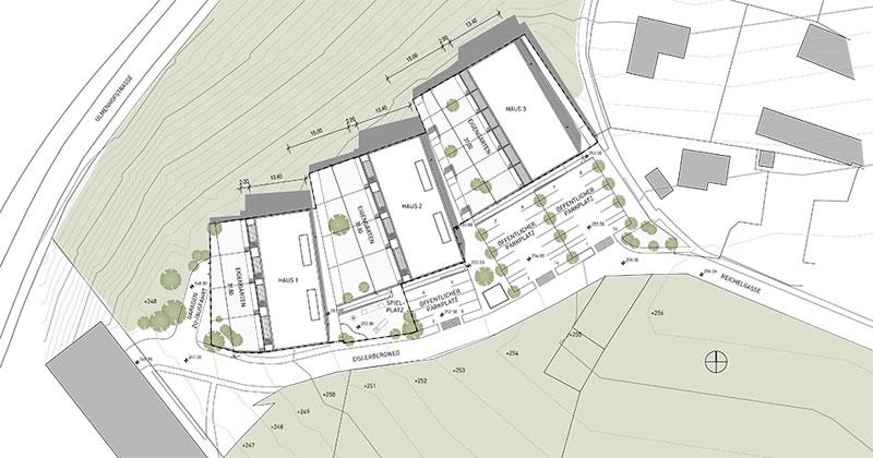 Gliederung in drei Einzelhäuser mit dazwischen liegenden Wohnhöfen - Planansicht © ArchOffice Zweiquadrat ZT GmbH Wien