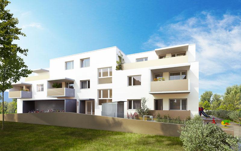 Wohnbau und Gesundheitszentrum, Bauetappe 2  - Frontalansicht