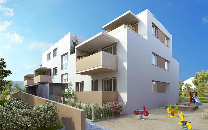 Wohnbau und Gesundheitszentrum, Bauetappe 2 - Front