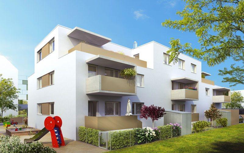 Pottenstein Wohnbau Bauetappe 2 - Gartenansicht