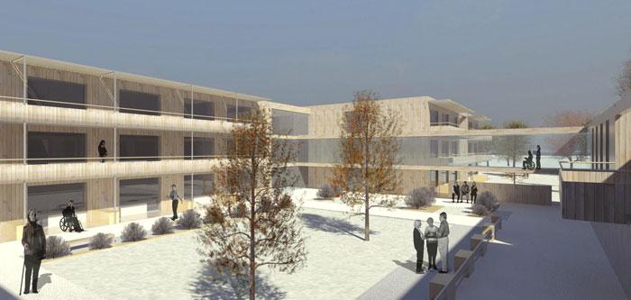 Wettbewerbsbeitrag ArchOffice Zweiquadrat ZT GmbH Pflegeheim Poysdorf - Innenhof