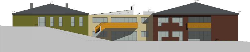 Haus St. Louise, Zubau - Ansicht Seite, Einreichplan