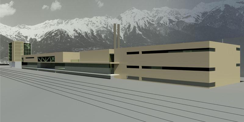 Ansicht Zug/Schiene TILAK Dienstleistungszentrum Innsbruck