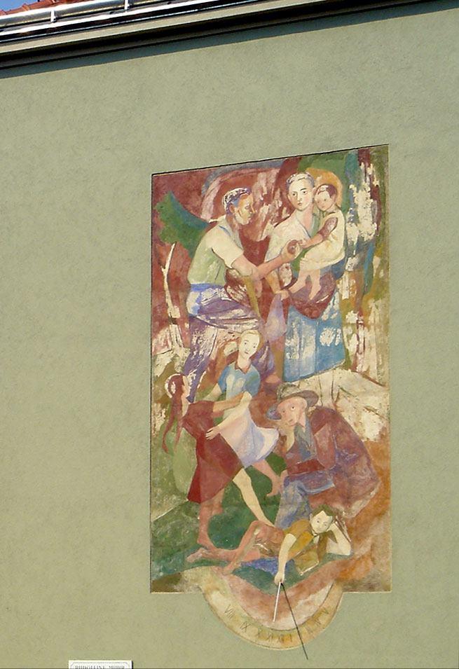 Wandbild »Generationen« von Hubert Tuttner nach Restaurierung, Abnahme und erneutem Aufbringen bedingt durch die thermischen Sanierung des Rudolfine-Muhr-Hofes in Wien