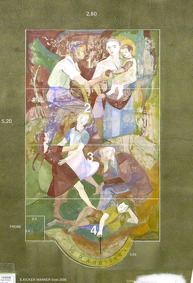 Wandbild »Generationen« von Hubert Tuttner vor Restaurierung, Foto: Kicker-Wanner